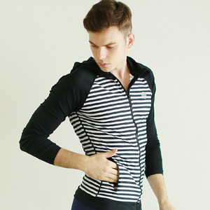 MEN STRIPE ZIP-UP HOOD